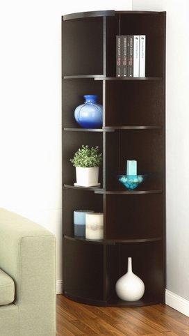 Furniture of America Shifter Decorative Modern Expandable Black-Cappucino Tall Corner 5 Shelf Bookcase or Media Storage Display Stand