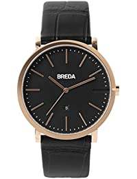 Men's 'Breuer' 1732e Rose Gold and Black Croc Leather Strap Watch, 39MM