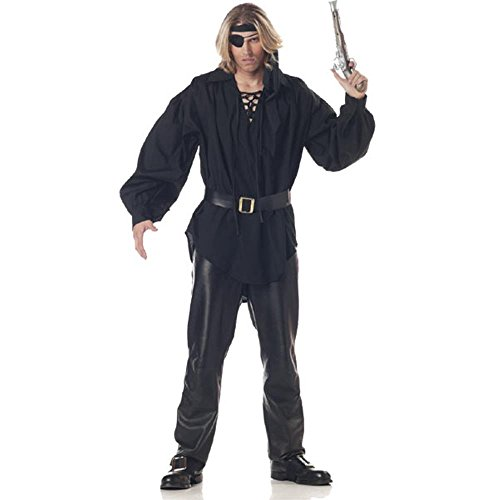 Adult Men's Black Pirate Costume Shirt (Size: Standard (Dread Pirate Roberts Costumes)