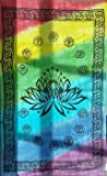 Raven Blackwood Imports Bedspread Tapestry Lotus Flower Seven Chakra Multi Colored Tie Dye 72'' x 108''