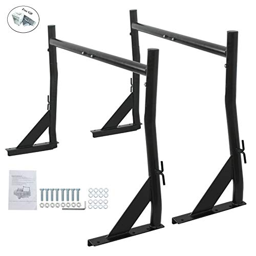 Adjustable Black Heavy Duty 650Lb Construction Rack Truck Ladder Racks Pair