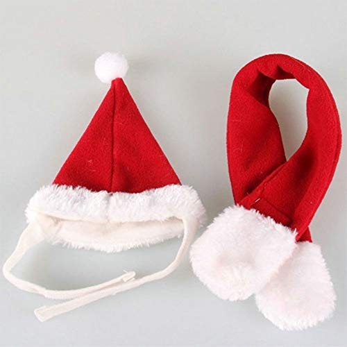 (ETbotu Cute Pet Headgear Costume Christmas Santa Hat&Scarf Pet Christmas Costume for Cats Small Dog red S)