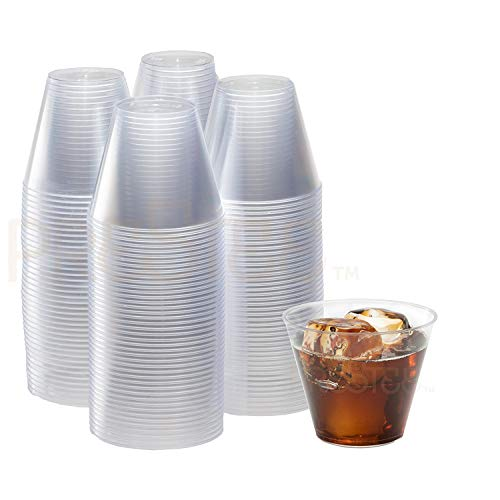 9 oz Clear Plastic Cups | Small Disposable Cups | Old Fashioned Tumblers | 200 Pack | Beverage Party Cups | Hard Plastic Drinking Cups | Ideal for Wine, Cocktails & Punch [Drinket] by Prestee