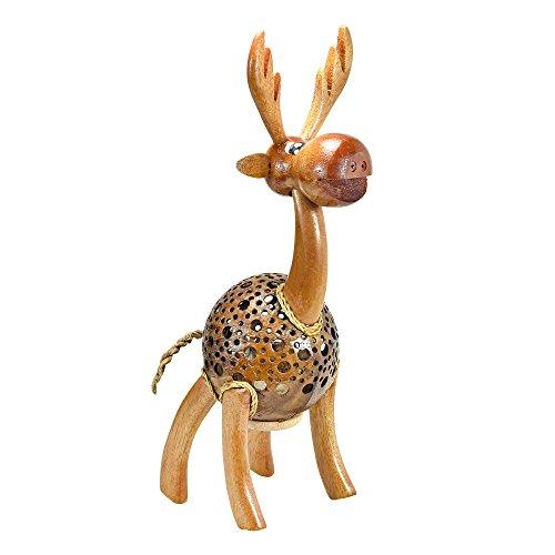 - AeraVida Happy Moose Reindeer Hand Carved Coconut Shell Figurine Sculpture