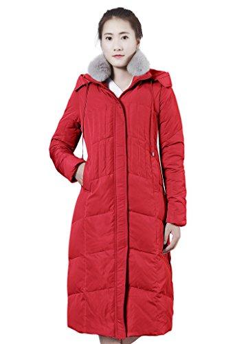 XIAOLV88 Women's Hooded Warm Fox Fur Collar Duck Long Down Coat Jacket Red