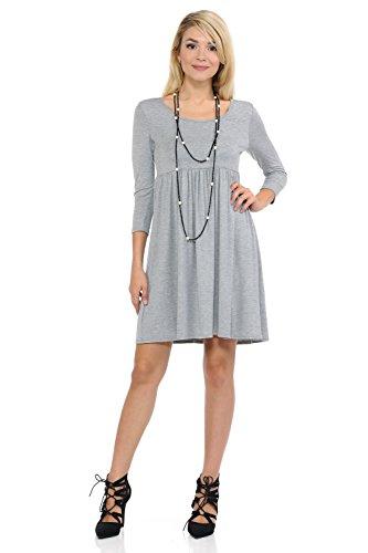 Empire Pastel Waist Relaxed Grey Vivienne Women's Dress Heather Babydoll by qawgra1Xx