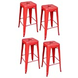 Bar Stools Red AmeriHome Metal Bar Stool Set, 30-Inch, Red, Set of 4