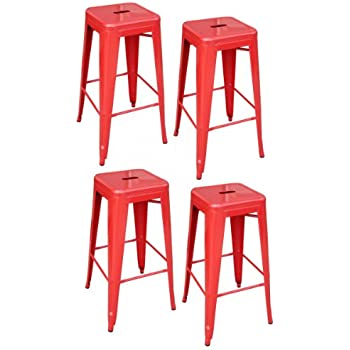 Amazon Com Amerihome Metal Bar Stool Set 30 Inch Red
