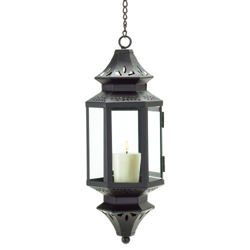 (Gifts & Decor Hanging Moroccan Lantern Glass Outdoor Candleholder)
