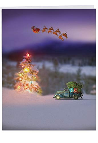 Extra Large 'Toy Trucks 'N Trees' Merry Christmas Card (8.5 x 11 Inch with Envelope) - Picture Of Xmas Scene with Mini Vintage Cars and Santa's Sleigh - Holiday Stationery Notecard J6689CXSG (Scenes Christmas Pictures)