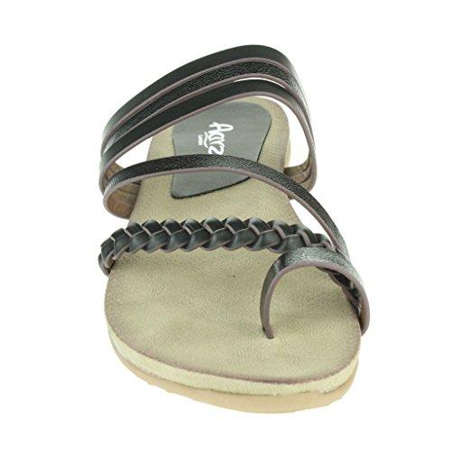 Mujer Señoras Maravilloso Dedo del pie Anillo Strappy playa Fijación de la hebilla Punta abierta Verano Casual Comodidad Plano Sandalias Zapatos Tamaño Negro