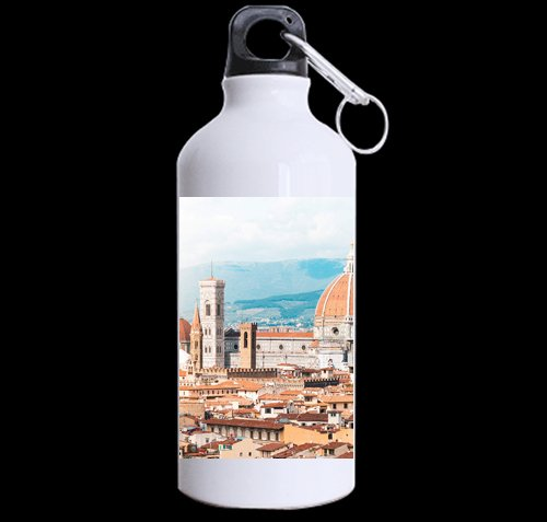 Duomo S. Maria del Fiore in Florence, Italy DIY Personalized Custom Sport Water Bottle Travel Cup 13.5 OZ (Twin Sides Print) Design Your Own Nice Gift Art Prints Twin Sides by CustomLittleHome