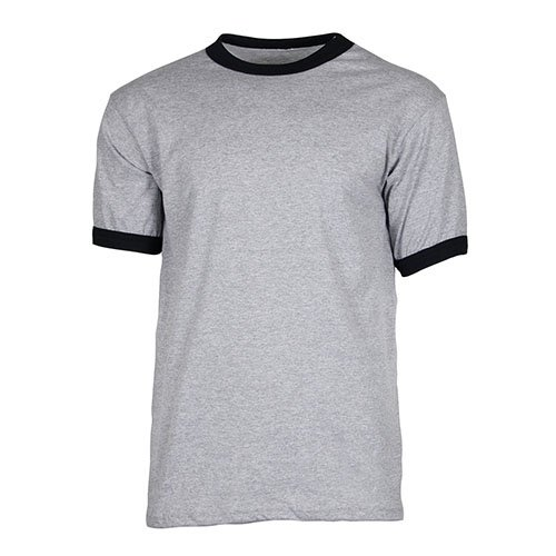 Ouray Sportswear Ringer Tee, Athletic Heather/Black, - Ringer Cotton Mens Tee