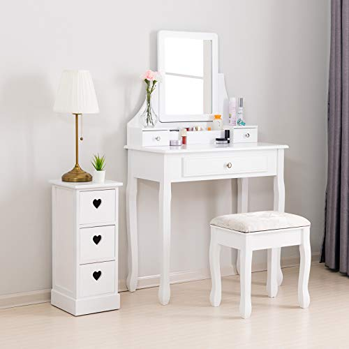Mecor Makeup Vanity w Square Mirror, White Vanity Set with Cushioned Stool,Wood Dressing Table with 3 Drawers,3 Removable Dividers Girls Women Bedroom Bathroom Makeup Furnitures