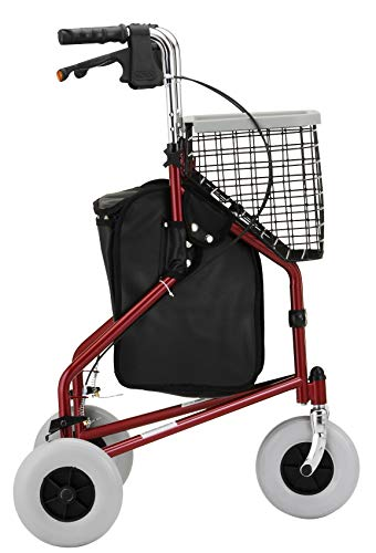 NOVA Traveler 3 Wheel Rollator Walker, All Terrain 8 Wheels, Includes Bag, Basket and Tray, Red