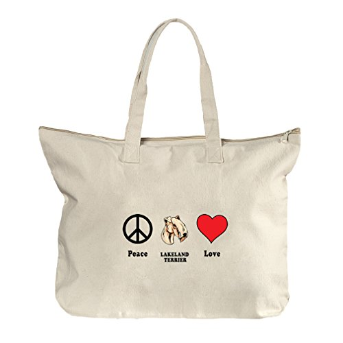 Peace Love Lakeland Terrier Dog Canvas Beach Zipper Tote Bag - In Shopping Florida Lakeland