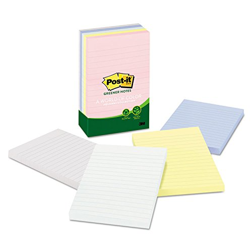 - 3M Post-it(R) Lined Notes, 4in. x 6in., Assorted Pastel Colors, Pack Of 5