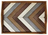Decorative Vintage Wood Serving Tray For Coffee Table or Ottoman - Rustic Breakfast Tray - Perfect Trays For Kitchen, Dining Room, or Living Room - Farmhouse Platter w/Handles - Multi-Color