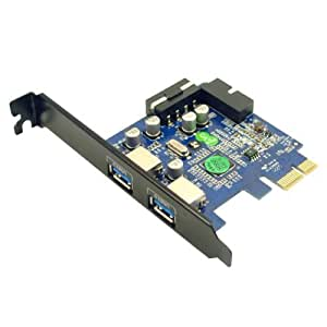 Anker® Uspeed PCI-E to USB 3.0 2 Port Express Card, with 1 USB 3.0 20-pin Connector and 5V 4 Pin Male Power Connector