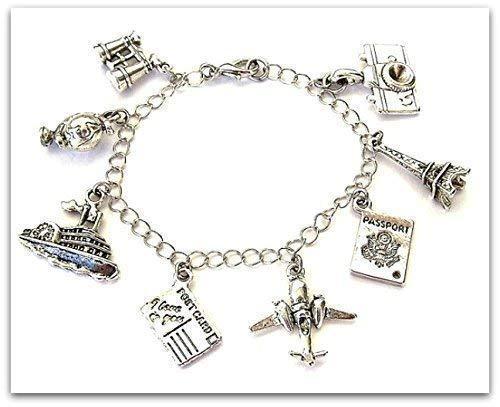 Travel Charm Bracelet or Necklace, Binoculars, Globe, Cruise Ship, Passport, Eiffel Tower