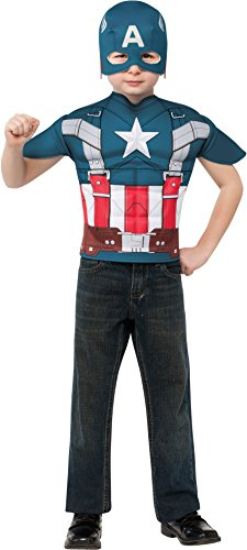 Captain America: The Winter Soldier, Captain America Muscle-Chest Retro Style Costume Top and Mask, Child Standard (Top 10 Movie Inspired Halloween Costumes)
