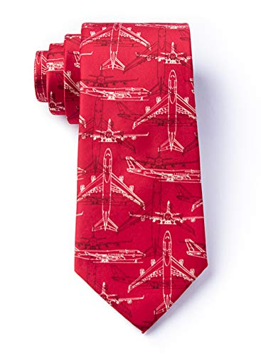 Men's Microfiber Boeing 747 Airplane Plane Pilot Aviation Skinny Narrow Tie Necktie (Red)