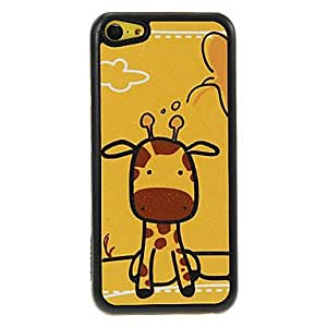 QJM Seated Giraffe Pattern Shimmering PC Hard Case for iPhone 5C