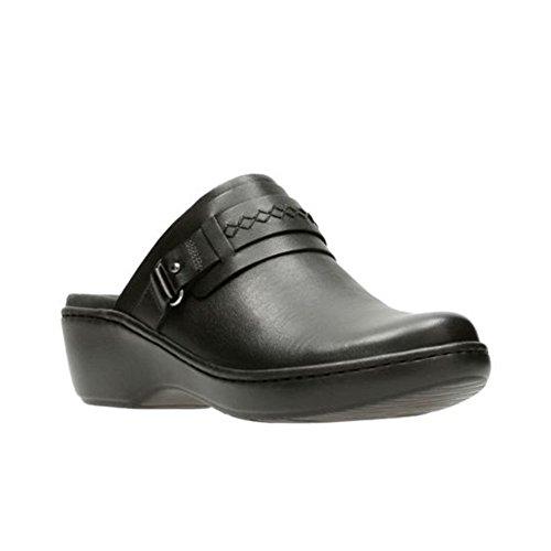 Clarks Women's Delana Amber Clog, Black Leather, 10 M US