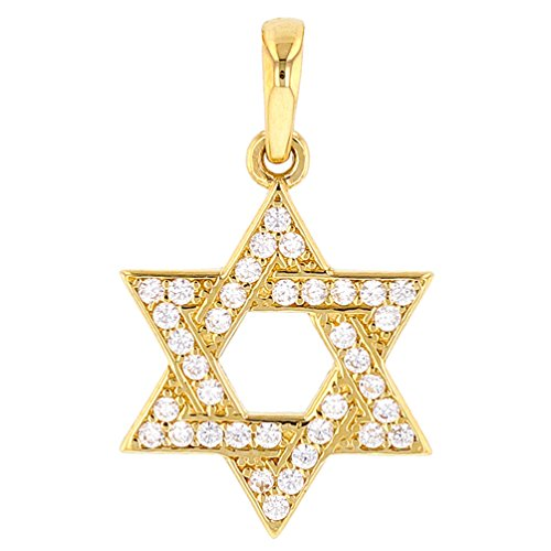 America Pendant Jewelry - Religious by Jewelry America Solid 14k Yellow Gold Simple Jewish Star David Charm Pendant Cubic Zirconia