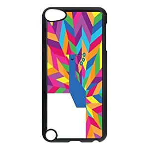 Happy and Colourful Peacock Stripe Ipod Touch 5 Cases, Doah - Black