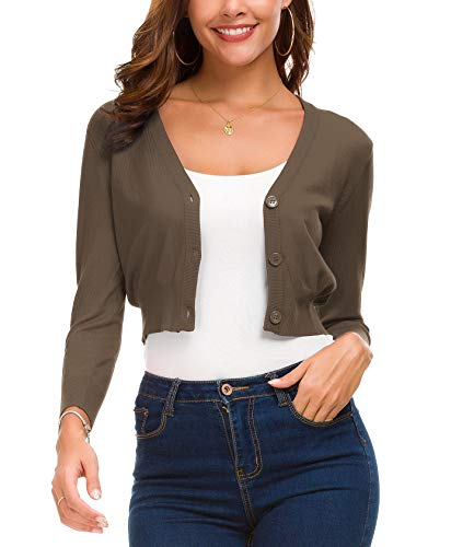 (Women's Trendy Bolero Shrug Open Front Cropped Cardigan 3/4 Sleeves Short Coat/Sweater (XL,)