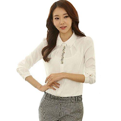 Coromose® Women V-neck Chiffon Long Sleeve Shirt Blouse (S, White 2)