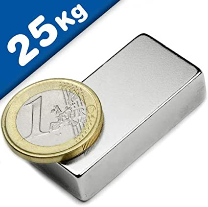 NdFeB Nickelé Aimant rectangulaire Bloc 40 x 20 x 10mm Néodyme N42 Force 25kg