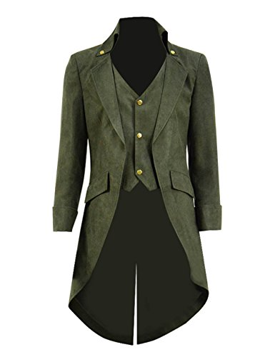 (Very Last Shop Mens Gothic Tailcoat Jacket Black Steampunk Victorian Long Coat Halloween Costume (Custom-Made, Dark)