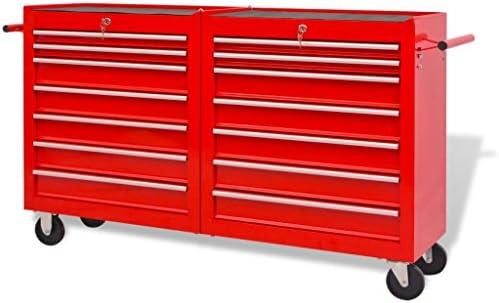 Weilandeal Carrito-caja de herramientas 14 cajones tamano XXL acero rojo organizador de herramientas para paredDimensiones del cajon pequeno: 51 x 29 x 4 cm (anchura x profundidad x altura): Amazon.es: Bricolaje y herramientas