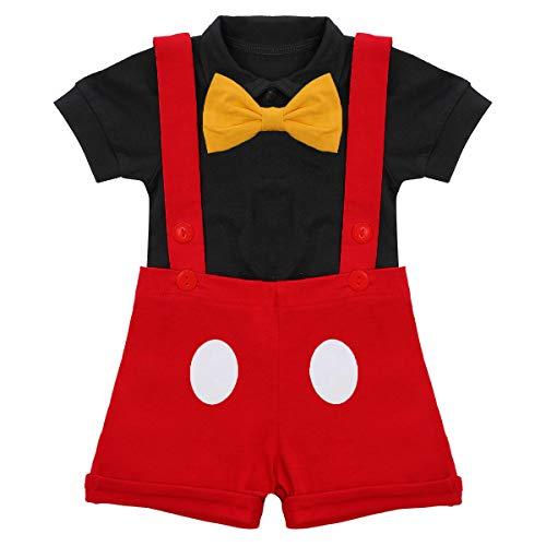 Mickey outfit voor pasgeborenen baby's, jongens, meisjes, eerste verjaardag, mickey-outfits, romper+vlinderdas + bretels…