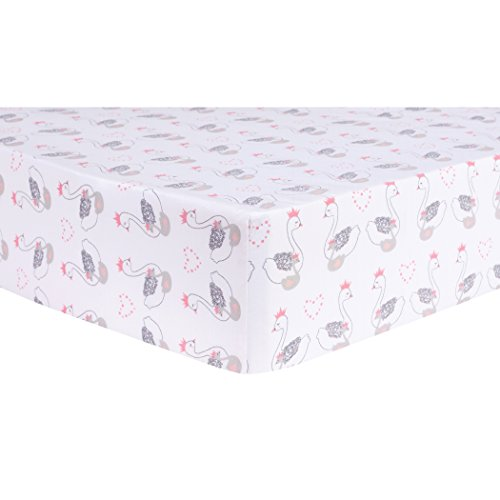 - Trend Lab Swans Fitted Crib Sheet, Pink/White