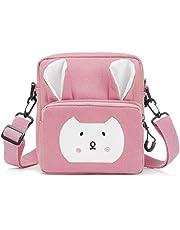 Wodasi Mała dziewczynka torba na ramię torba na ramię dla dziewcząt urocza mała torebka z regulowanym paskiem dziecięca torebka dla małych dziewczynek, królik crossbody torba listonoszka, różowa