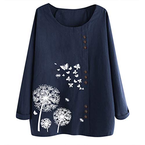 Print Prom Dresses 2005 - FEISI22 Women's Linen Retro Chinese Frog Button Tops Blouse T Shirt High Low Shirt Long Sleeve Tops Casual Sweatshirt