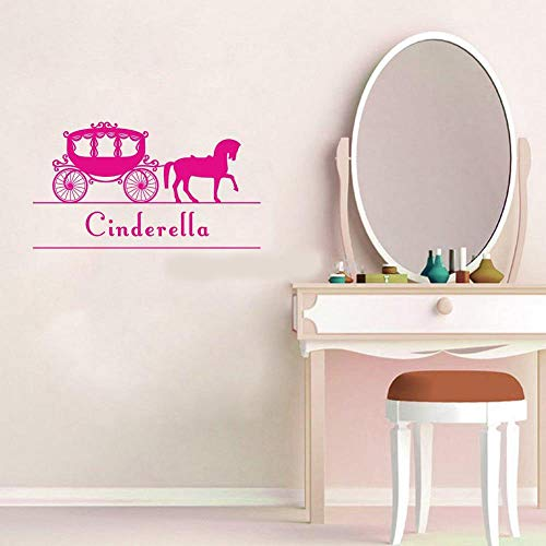 Vinyl Wall Art Inspirational Quotes and Saying Home Decor Decal Sticker Personalized Princess Carriage Customized Kids Name Fairy Tale Horse Coach Stickers for Girls Room