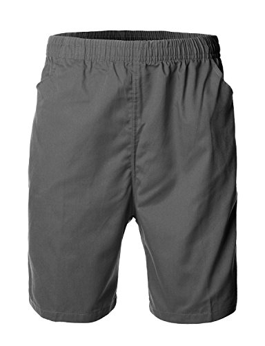 Men's Casual Basic Design Cotton Shorts Pants GRAY size L Design Cotton Short