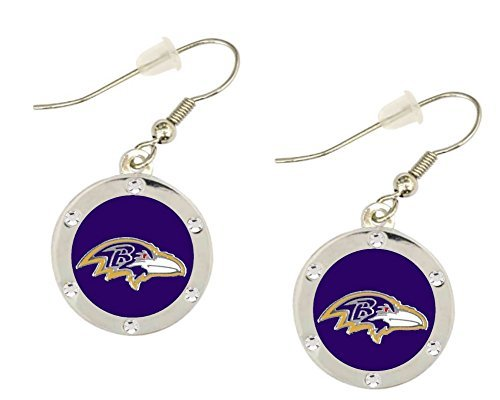Baltimore Ravens Crystal Dangle Earrings. Clip-on Available