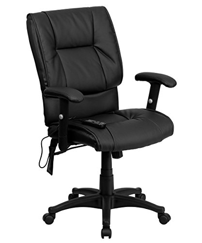 Offex BT-2770P-GG Mid-Back Massaging Executive Office Chair, Black Leather