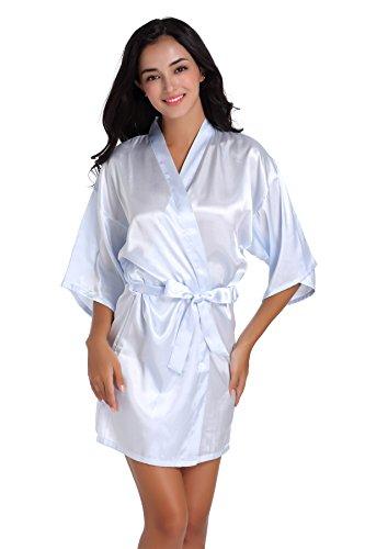 Dressing Blue - SIMJOY Women's Satin Short Kimono Robe Plain Dressing Gown Bathrobe Bridal Party Robe, Light Blue, Medium