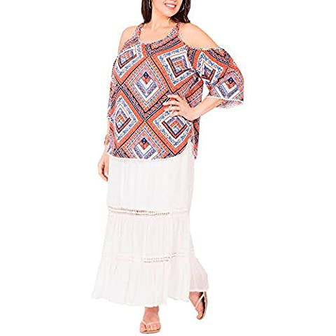 Plus Moda Women's Plus-Size Pretty Peasant Maxi Skirt with Crochet Lace Trim (Plus 4X, White) ()