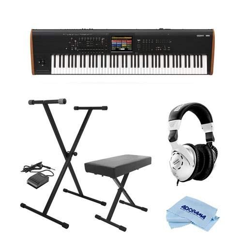 Korg Kronos 88 Key Music Workstation with SGX-2 Engine, Kronos System Version 3.0 Bundle with On-Stage KPK6520 Keyboard Stand/Bench Pack with Sustain Pedal, Behringer HPS3000 Studio Headphones, Cloth