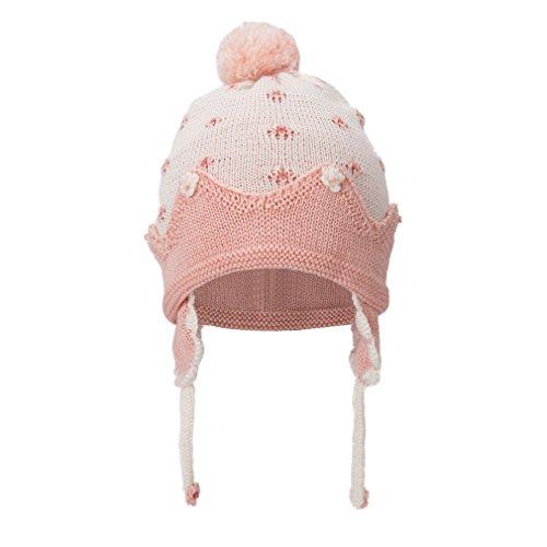 Eriso Baby Little Girls Knitted Flower Bud Cap Crochet Hat (3-7 yrs, Beige)