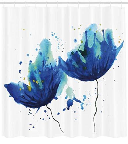 ABAKUHAUS Azul Cortina de Ba/ño Material Resistente al Agua Colores Vibrantes Antibacterial Efecto Estilo Acuarela Dise/ño Floral Arte Abstracto Florecilla Ilustraci/ón Azul Claro 175 x 180 cm
