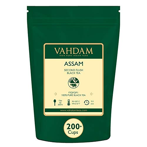 Assam Black Tea Leaves (200+ Cups), STRONG, MALTY & RICH, Loose Leaf Tea, 100% Pure Unblended, Single Origin Black Tea Loose Leaf, Brew Hot Tea, Iced Tea, Kombucha Tea, FTGFOP1 Long Leaf Grade, 16oz