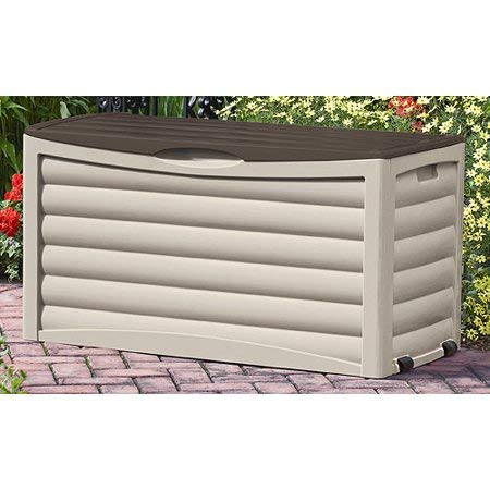 83 Gallon Light Taupe and Mocha Resin Contemporary Wicker Deck Box